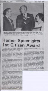 Homer Speer Receives First Citizen Award from Ray Hackl in 1977. Speer's wife Nancy participates in the ceremony as well.