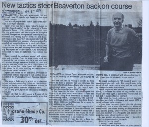 Oregonian article 1979 New Tactics Steer Beaverton Back on Course: Speer