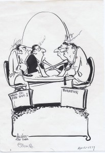Political Cartoon by Art Hill Featuring Washington County Fire Commission and Beaverton Commission at loggerheads