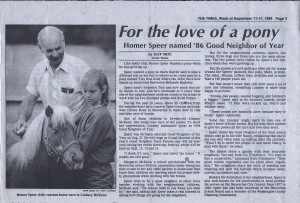Homer Speer Named '86 Good Neighbor of the Year by 10 year old Lindsey McKeen