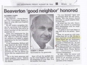 Homer A Speer Beaverton Good Neighbor Honored 1986