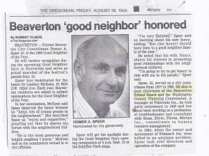 Homer A Speer Beaverton Good Neighbor Honored 1986