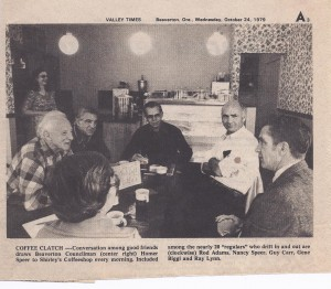 Valley Time  Article October 24, 1979 Shirley's Coffee Shop (now the Beaverton Bakery)