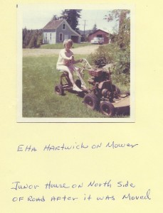 ETTA HARTWICK ON MOWER IN FRONT OF JUNER HOUSE Banks Oregon